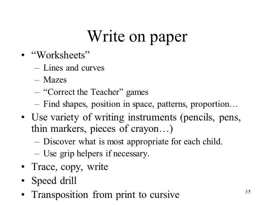 Write on paper Worksheets