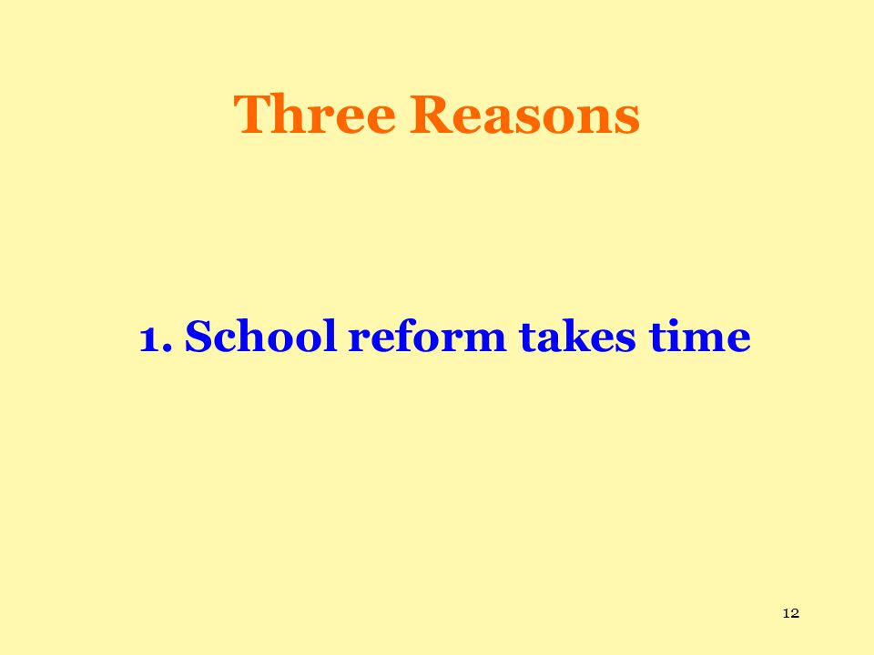1. School reform takes time