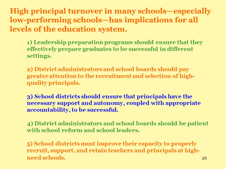 High principal turnover in many schools—especially low-performing schools—has implications for all levels of the education system.