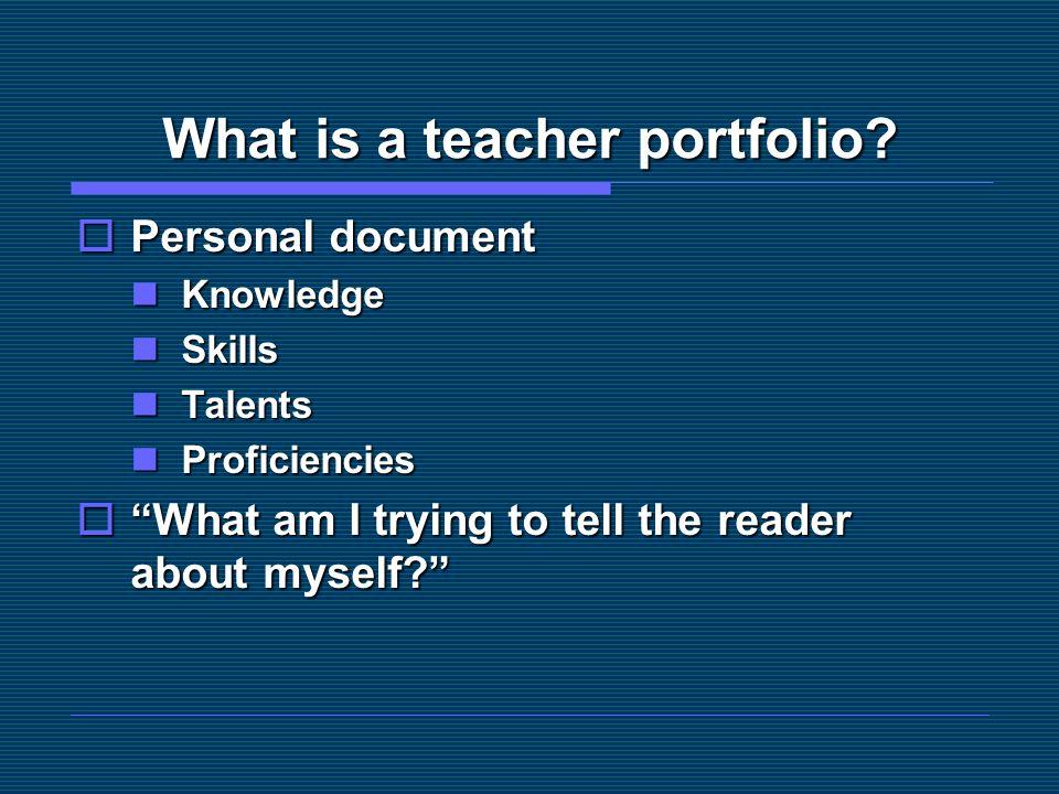 What is a teacher portfolio
