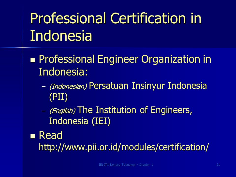Professional Certification in Indonesia