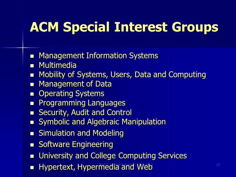 ACM Special Interest Groups
