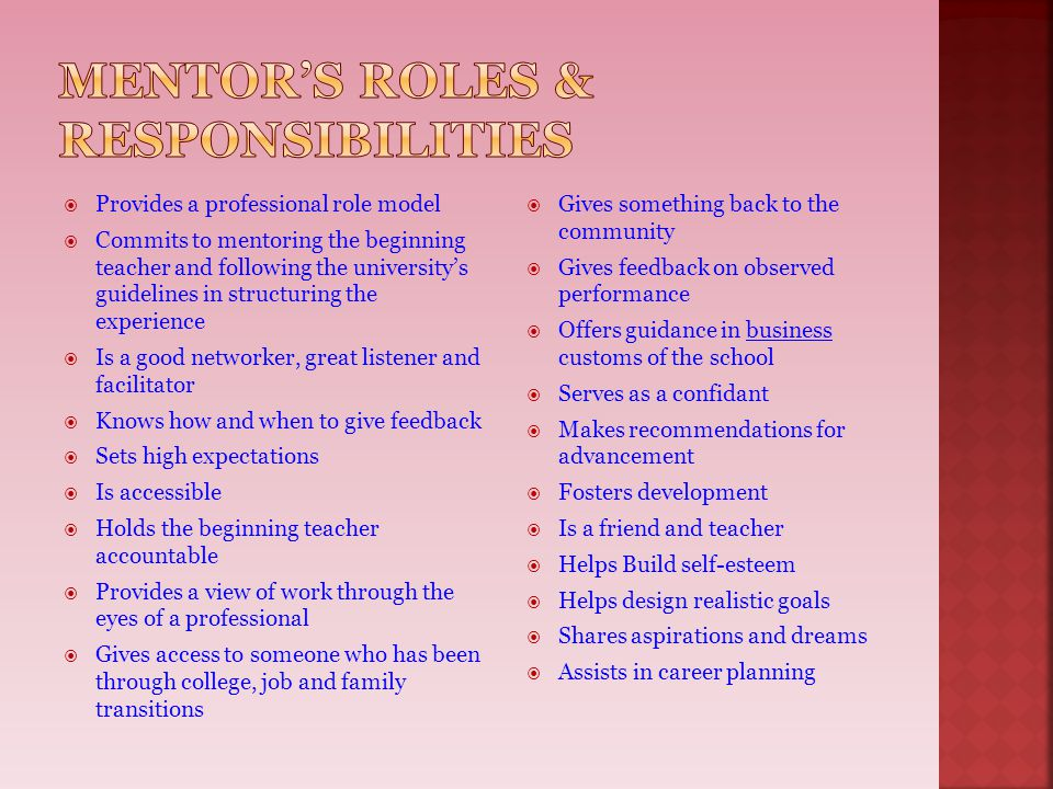Mentor's roles & responsibilities