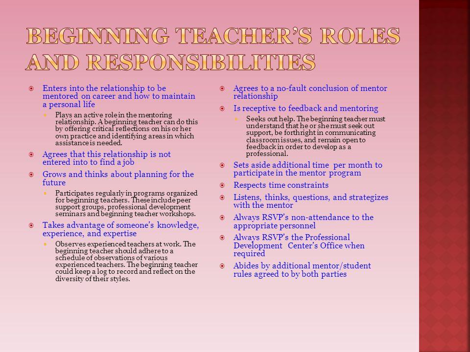 Beginning Teacher's roles and responsibilities