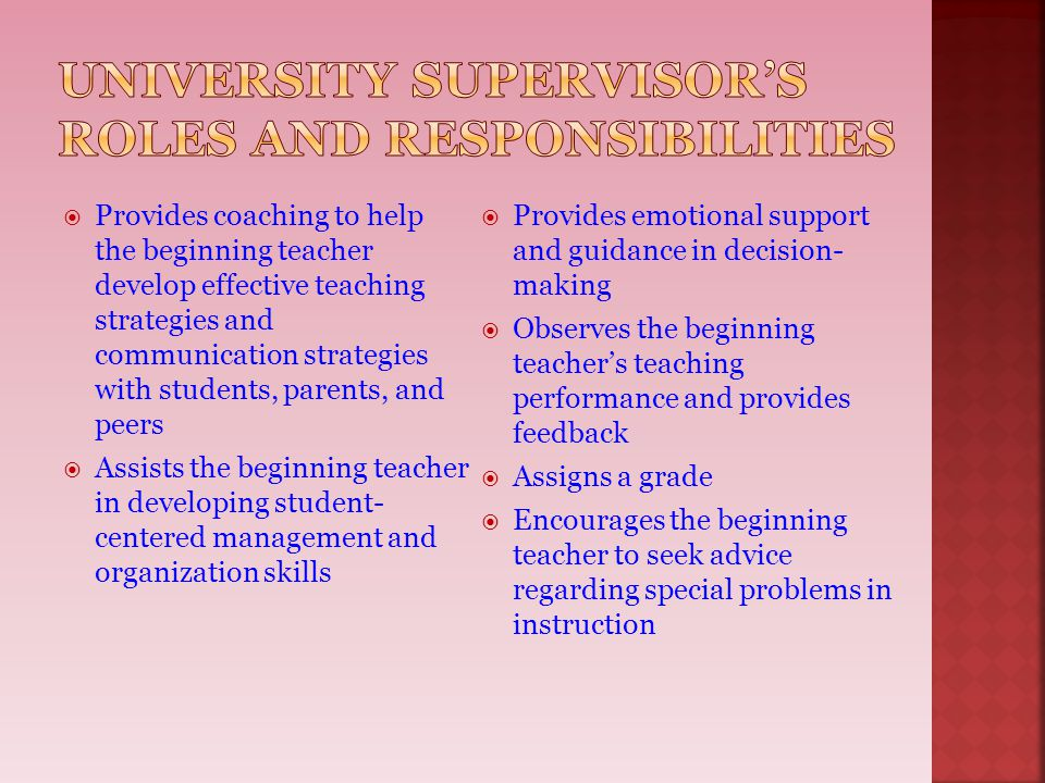 University Supervisor's roles and responsibilities