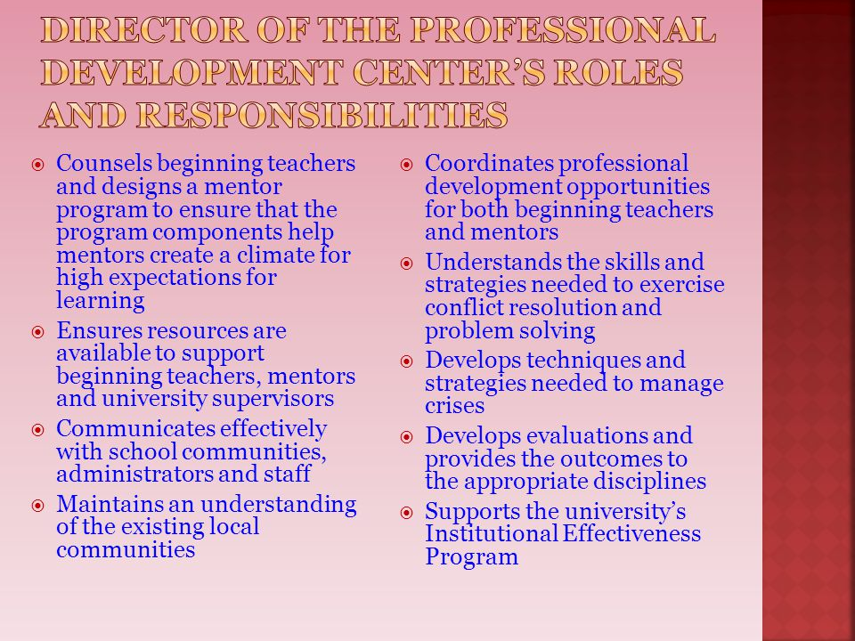 Director of the Professional Development center's roles and responsibilities