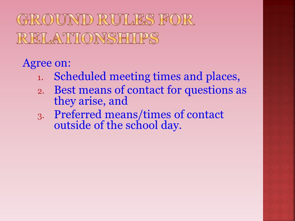 Ground Rules for Relationships
