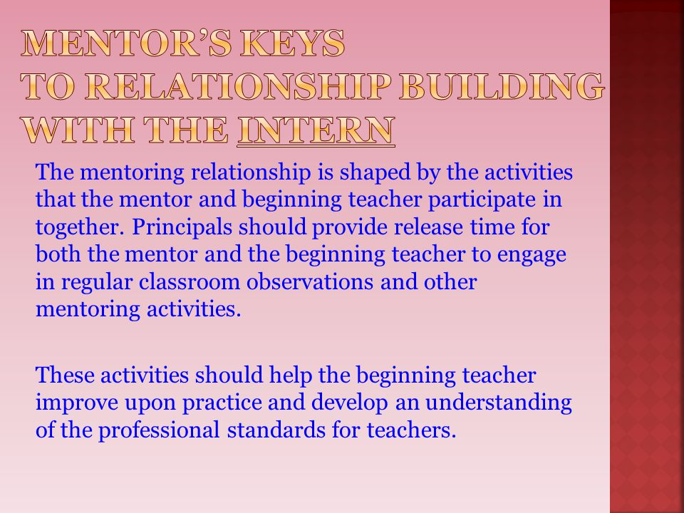 Mentor's Keys to Relationship Building with the Intern