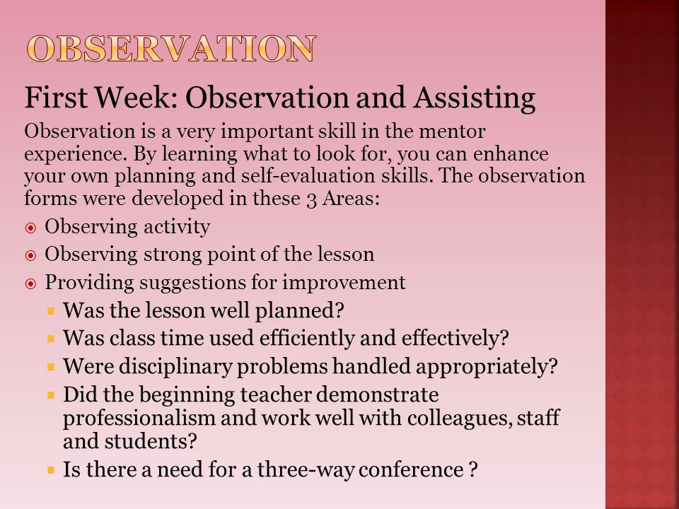 Observation First Week: Observation and Assisting