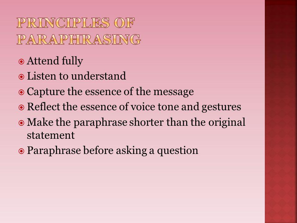 Principles of Paraphrasing