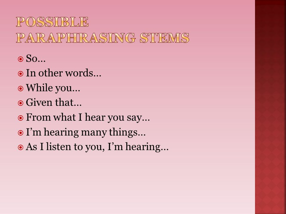 Possible Paraphrasing stems