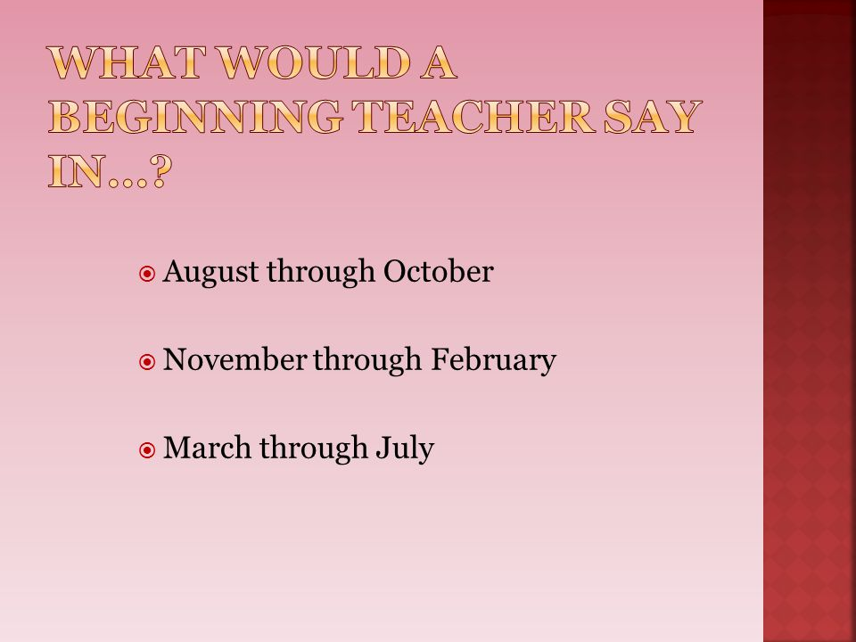 What Would a Beginning Teacher Say in…