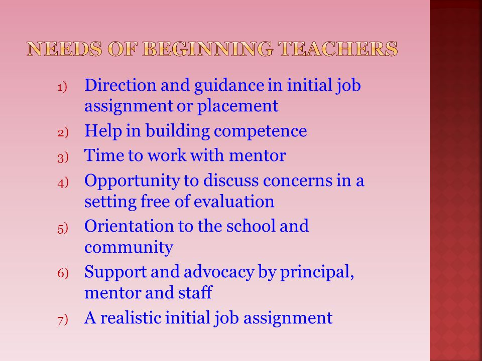 Needs of Beginning Teachers