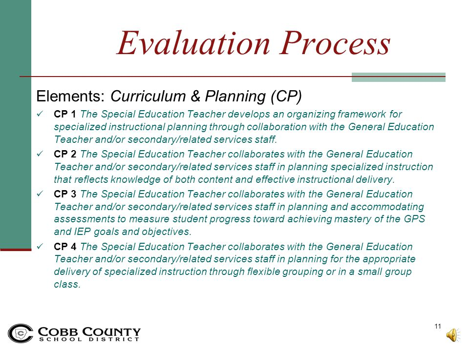 Evaluation Process Elements: Curriculum & Planning (CP)
