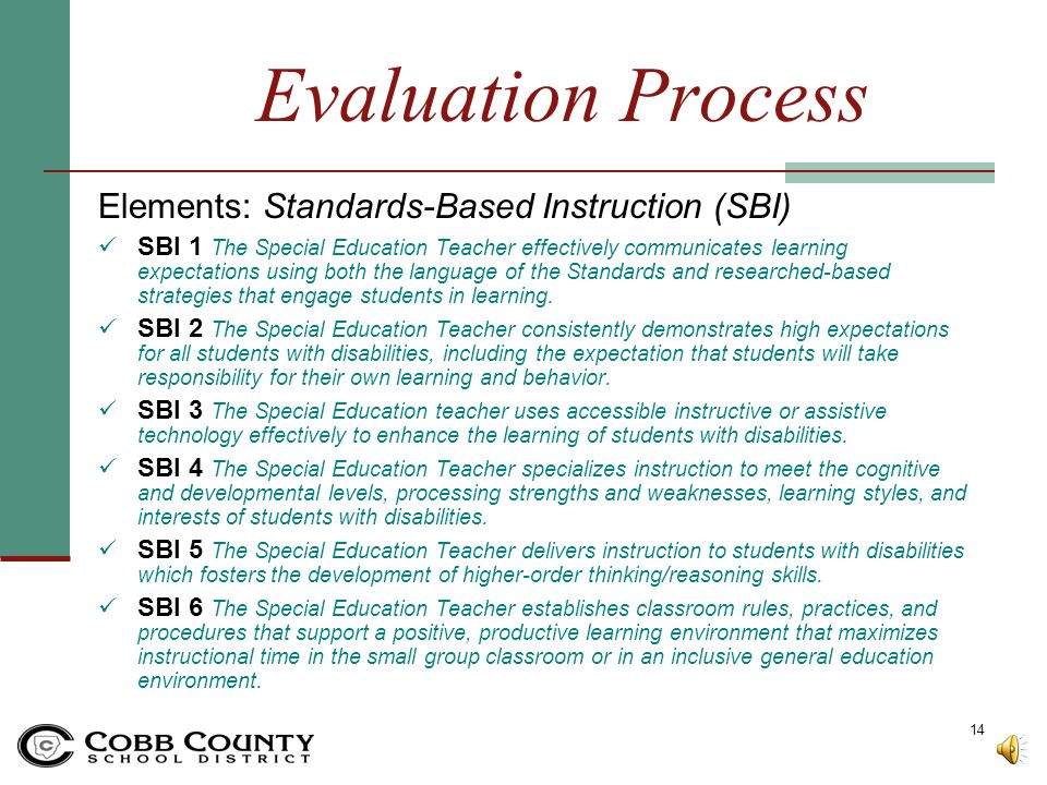 Evaluation Process Elements: Standards-Based Instruction (SBI)