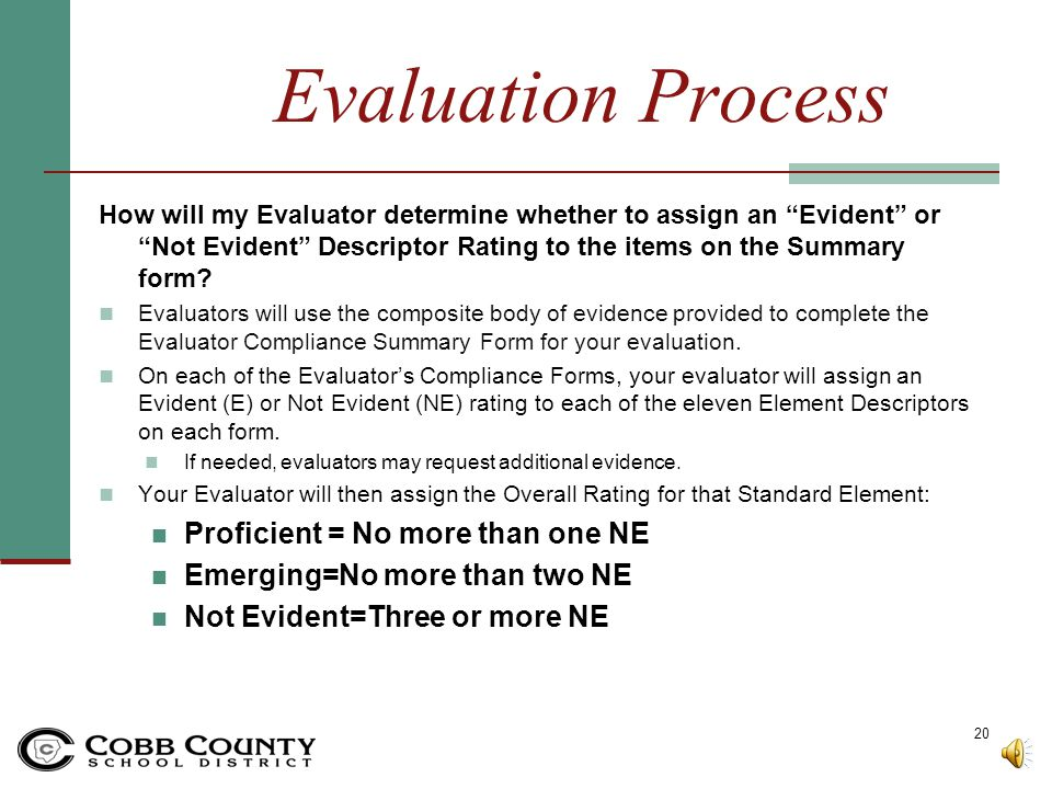Evaluation Process Proficient = No more than one NE