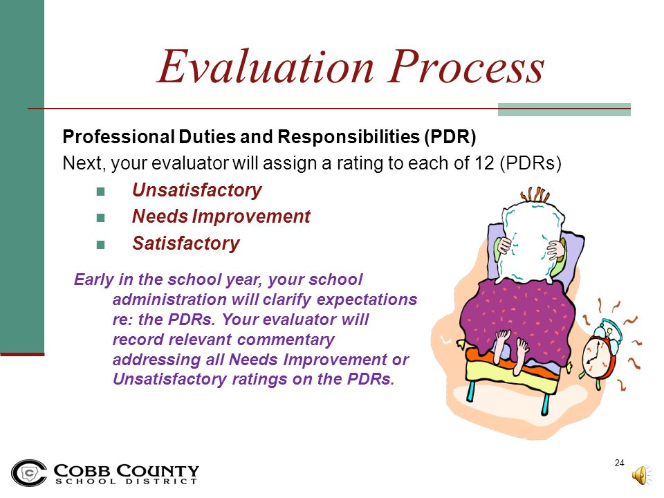 Evaluation Process Professional Duties and Responsibilities (PDR)