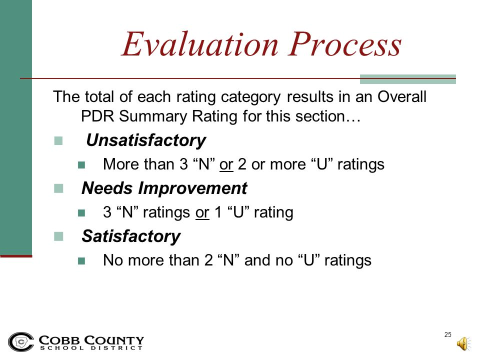 Evaluation Process Needs Improvement Satisfactory