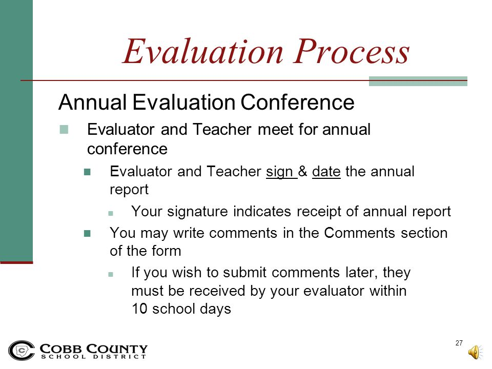 Evaluation Process Annual Evaluation Conference