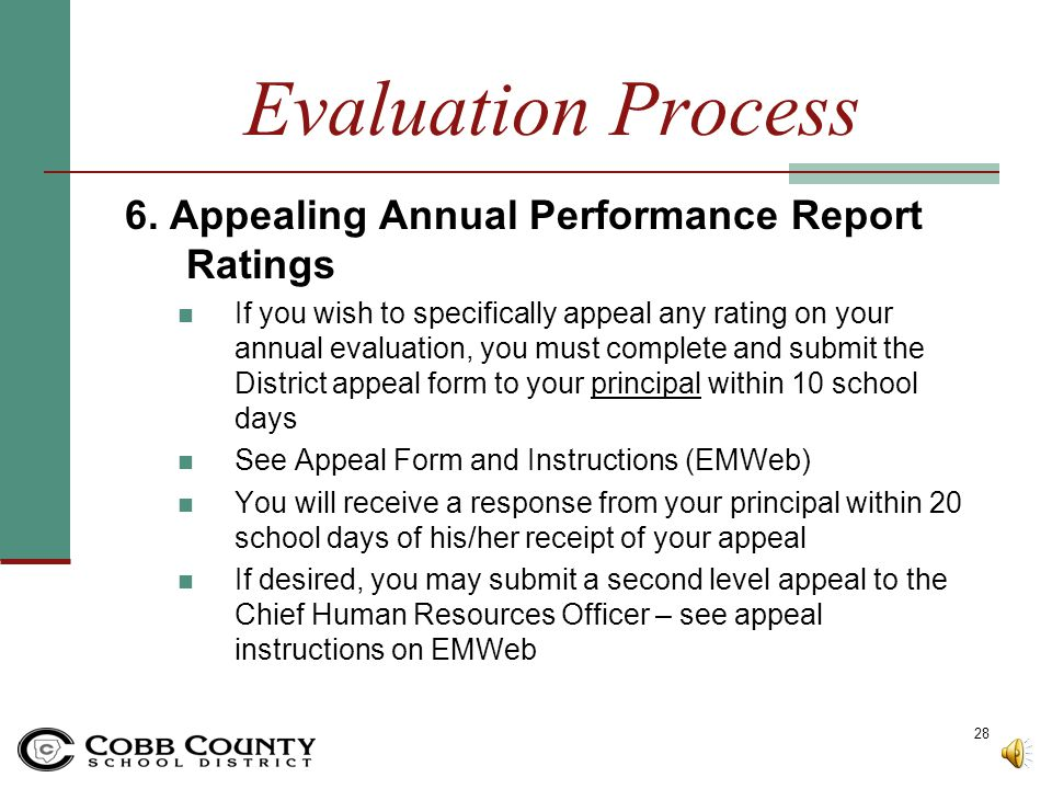 Evaluation Process 6. Appealing Annual Performance Report Ratings