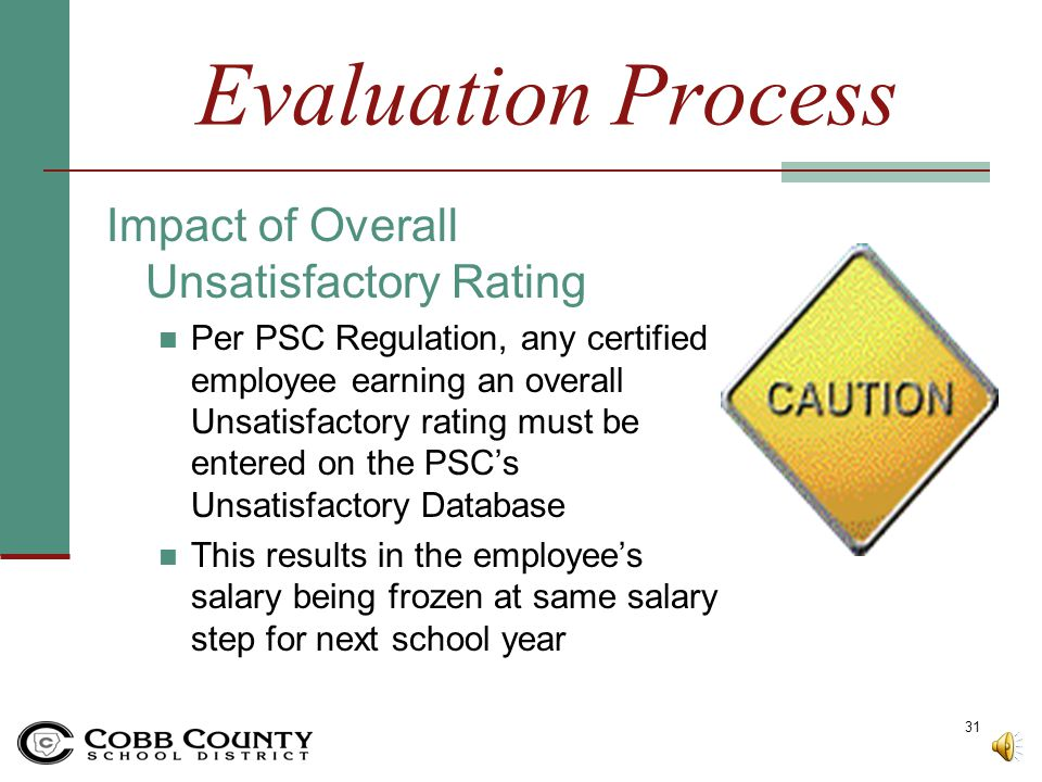 Evaluation Process Impact of Overall Unsatisfactory Rating