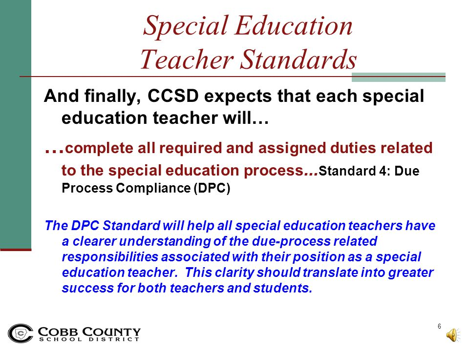 Special Education Teacher Standards
