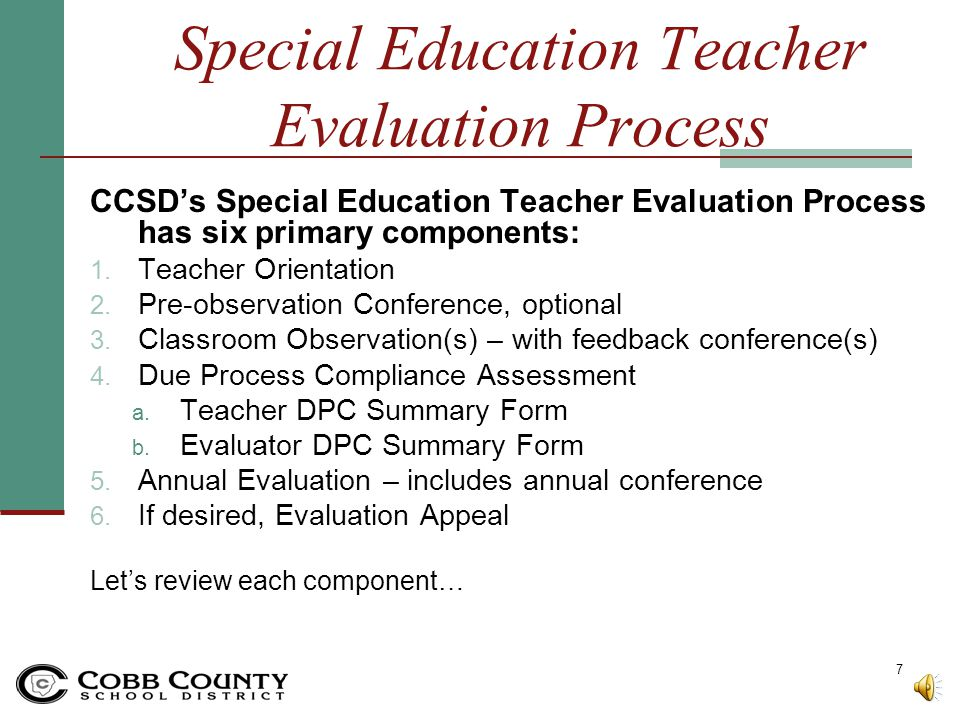 Special Education Teacher Evaluation Process