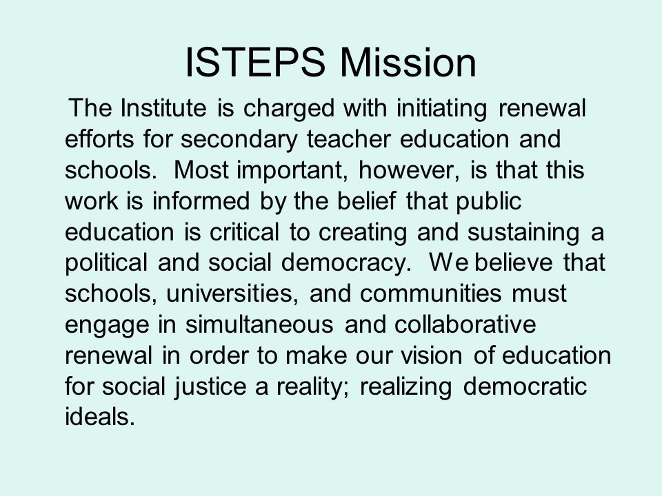 ISTEPS Mission