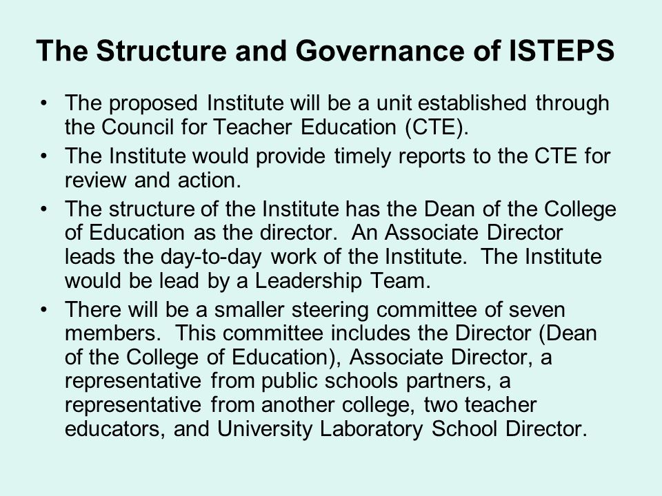 The Structure and Governance of ISTEPS
