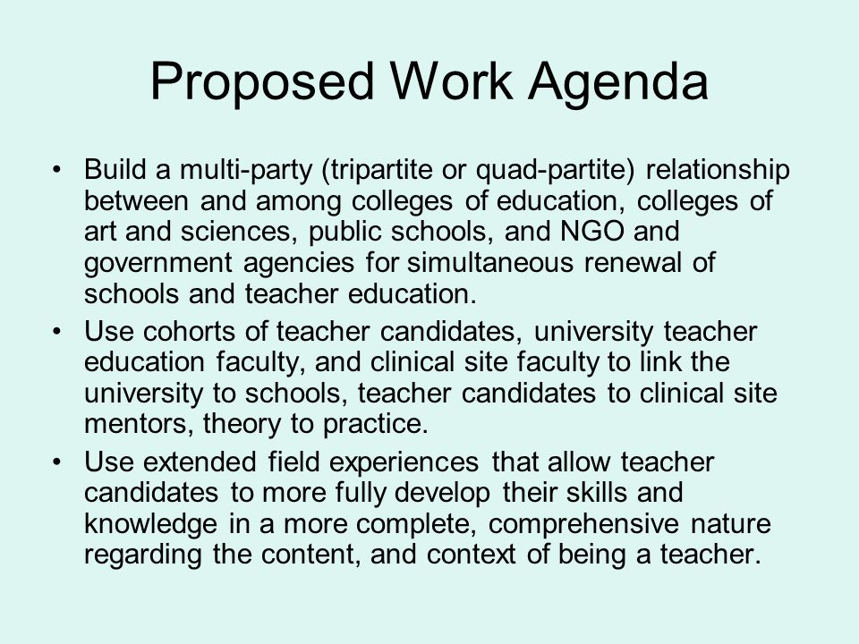 Proposed Work Agenda