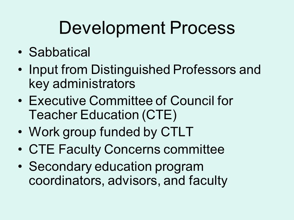 Development Process Sabbatical