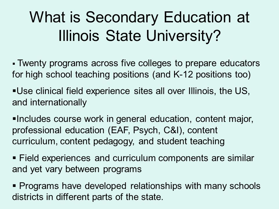 What is Secondary Education at Illinois State University