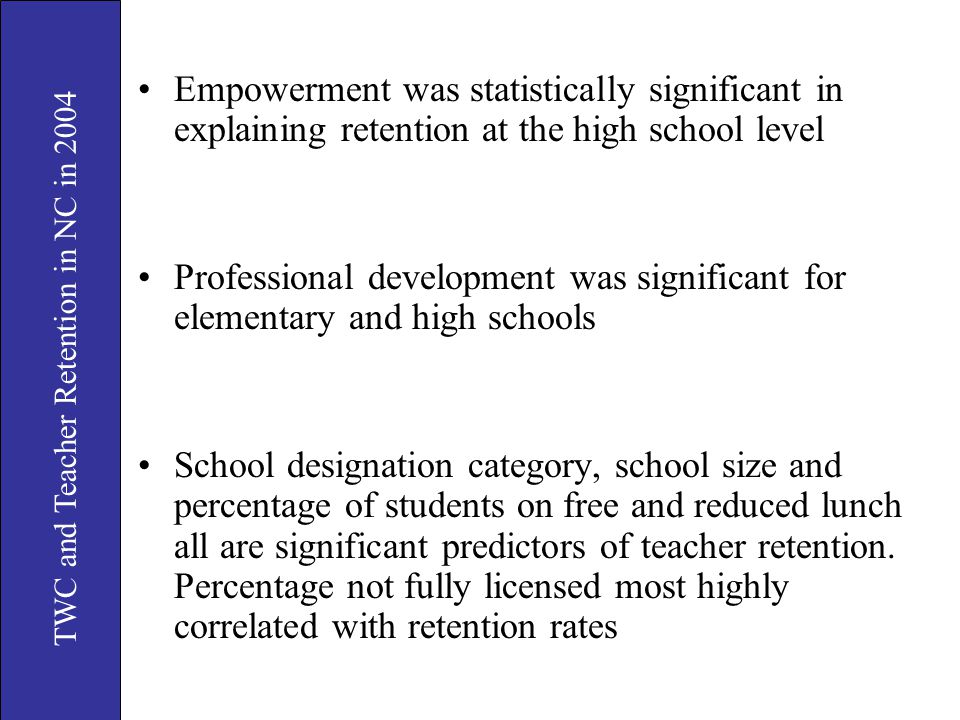 TWC and Teacher Retention in NC in 2004