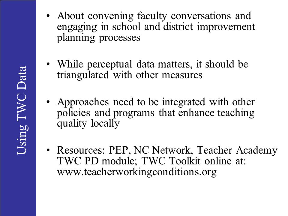 About convening faculty conversations and engaging in school and district improvement planning processes