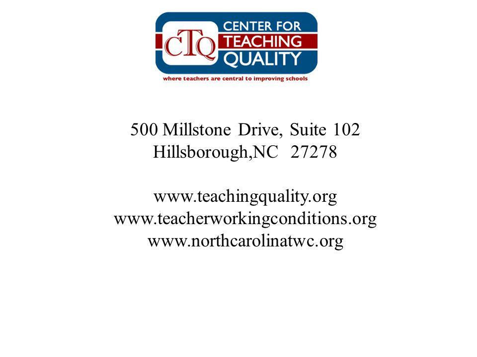 500 Millstone Drive, Suite 102 Hillsborough,NC 27278. www.teachingquality.org. www.teacherworkingconditions.org.