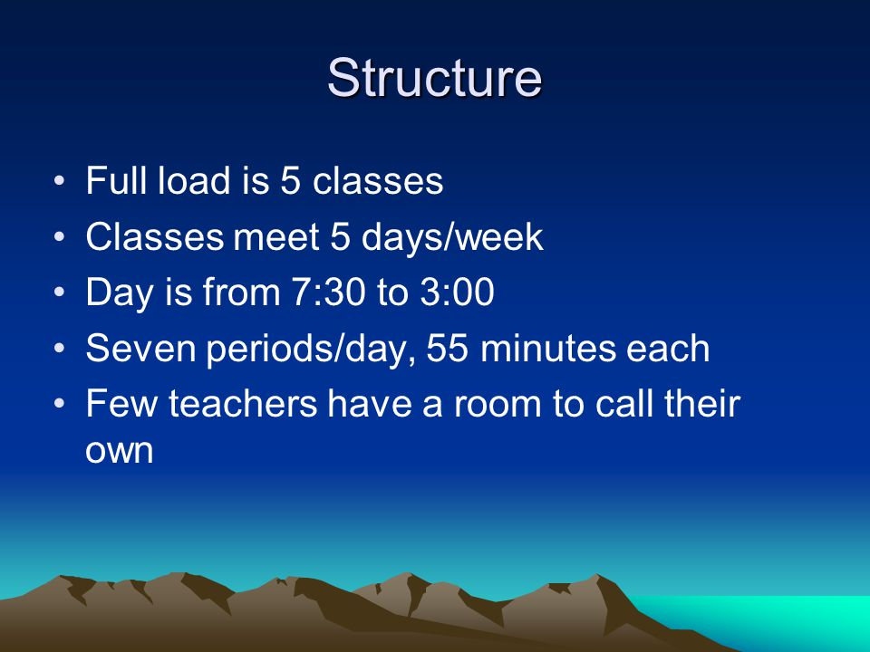 Structure Full load is 5 classes Classes meet 5 days/week