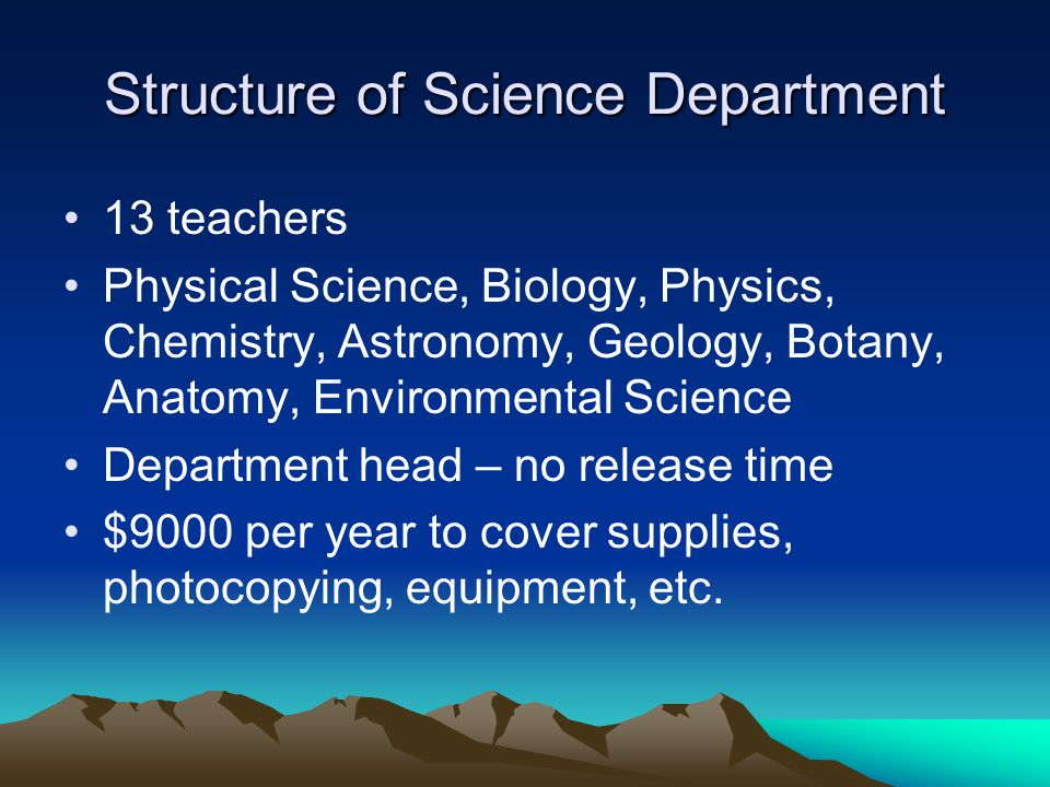 Structure of Science Department