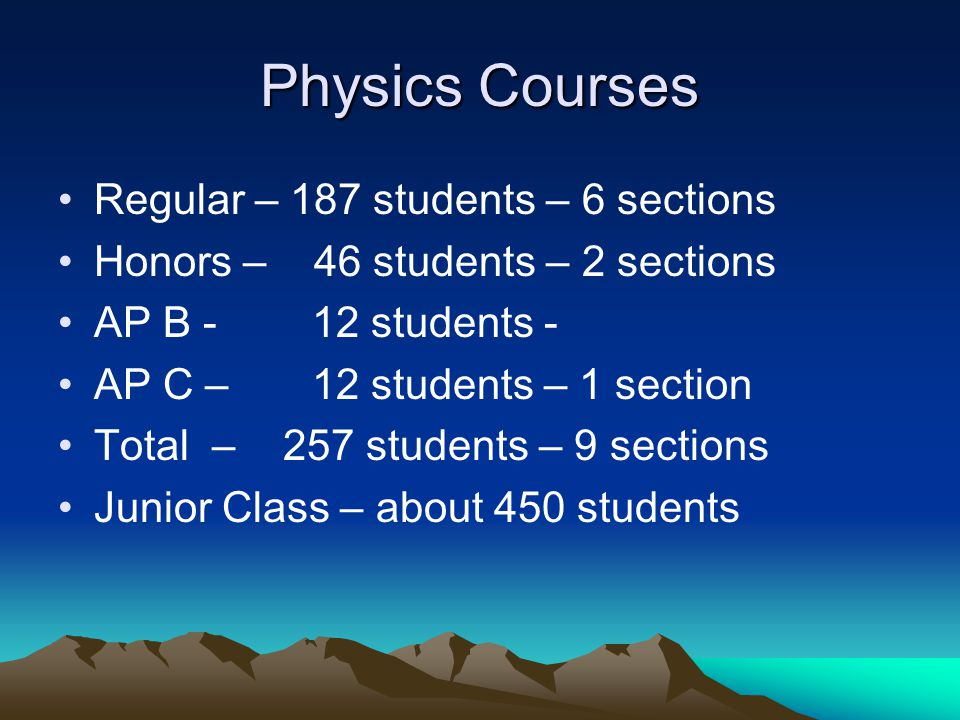 Physics Courses Regular – 187 students – 6 sections