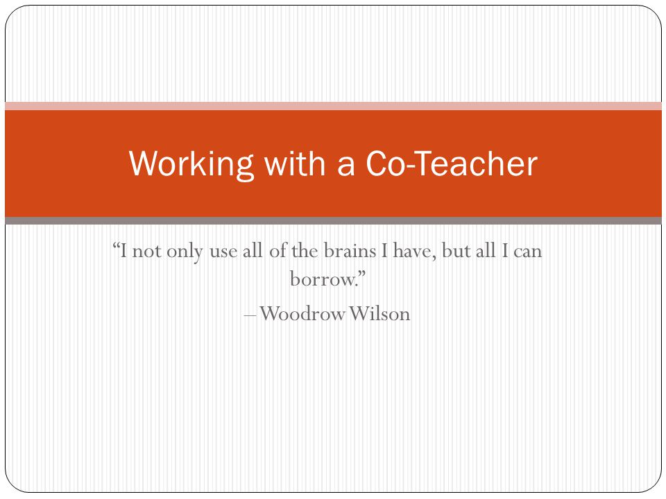 Working with a Co-Teacher