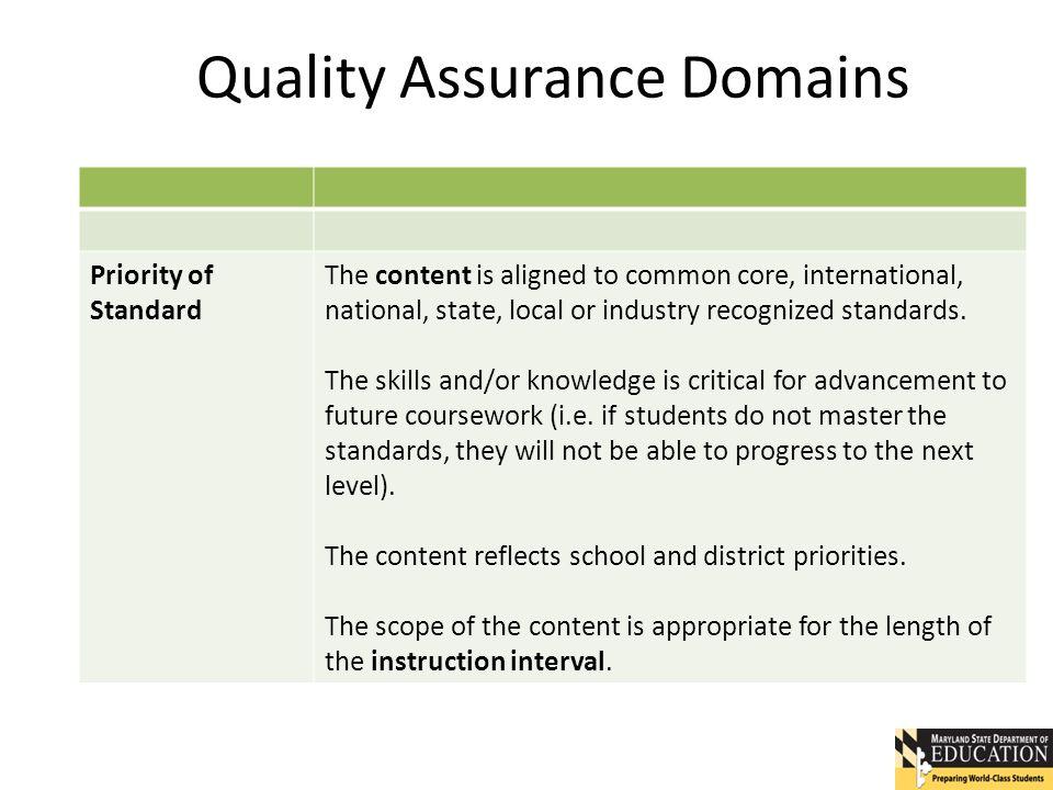 Quality Assurance Domains