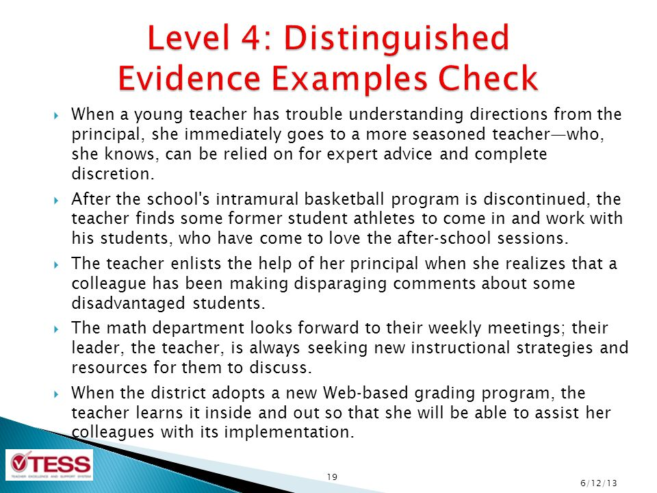 Level 4: Distinguished Evidence Examples Check