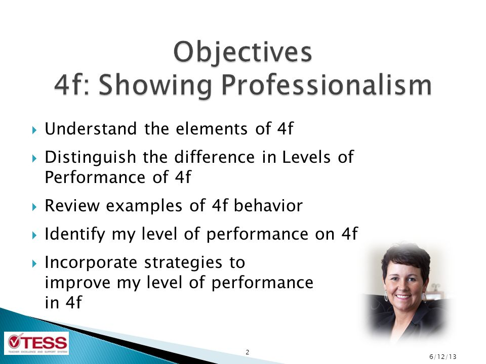 Objectives 4f: Showing Professionalism