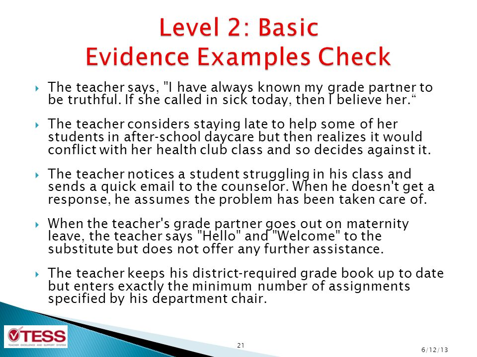 Level 2: Basic Evidence Examples Check
