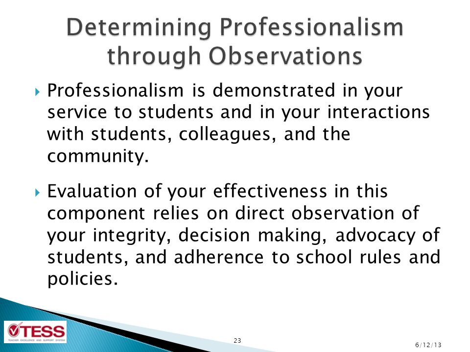 Determining Professionalism through Observations