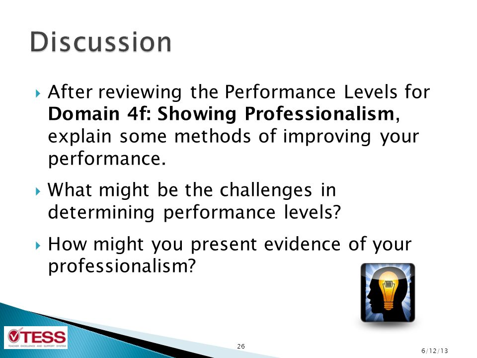 Discussion After reviewing the Performance Levels for Domain 4f: Showing Professionalism, explain some methods of improving your performance.