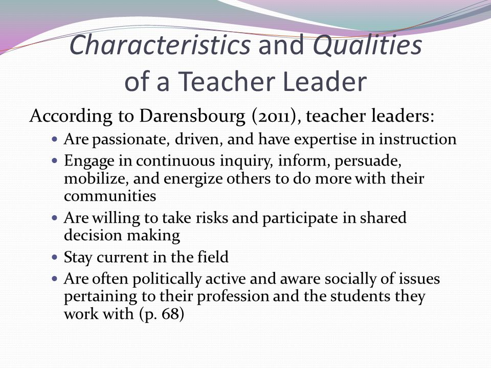 Characteristics and Qualities of a Teacher Leader