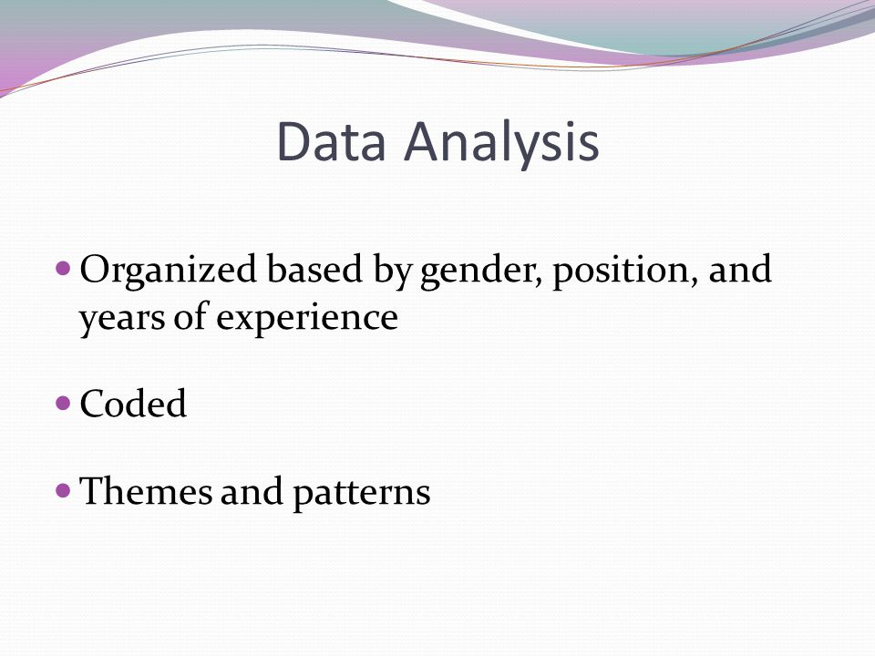 Data Analysis Organized based by gender, position, and years of experience.