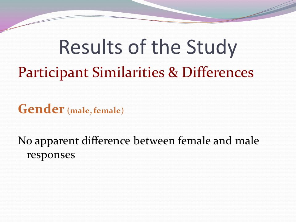 Results of the Study Participant Similarities & Differences