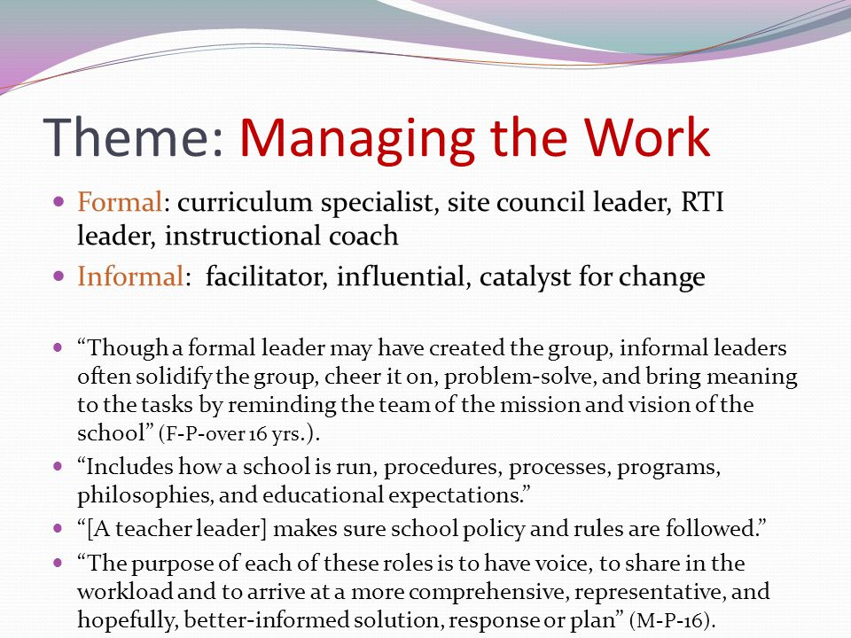 Theme: Managing the Work