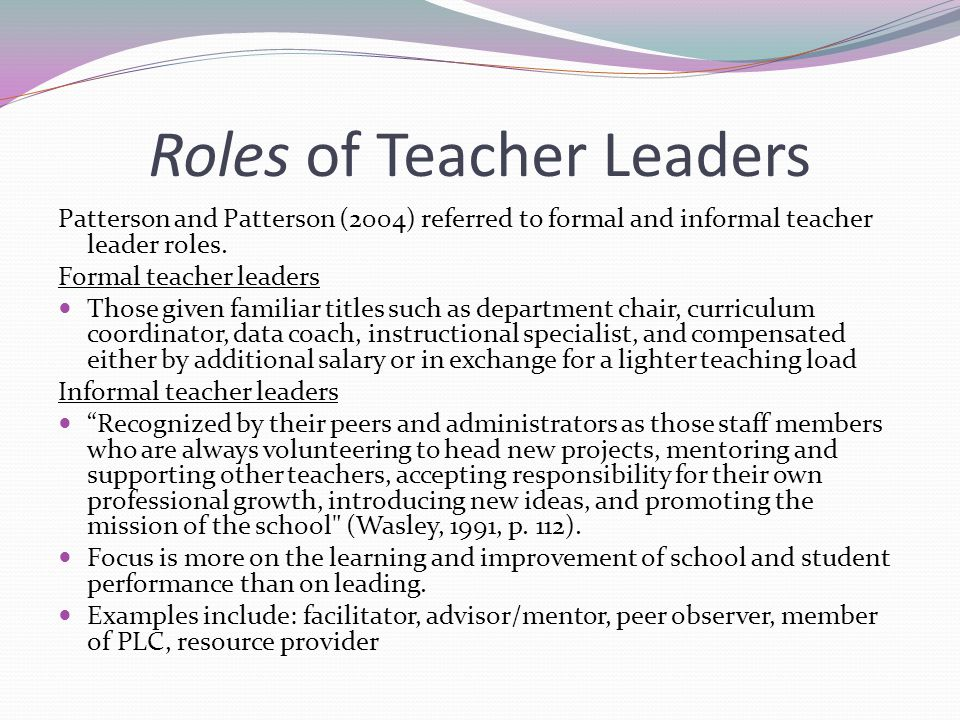 Roles of Teacher Leaders